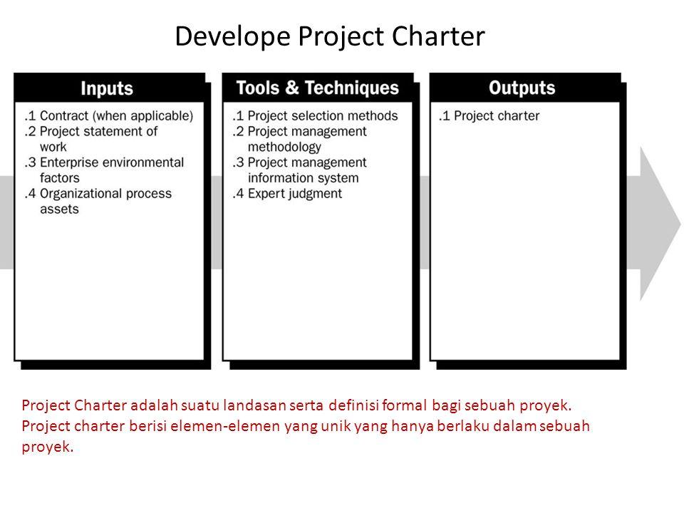 Develope Project Charter Project Charter adalah suatu landasan serta definisi formal bagi sebuah proyek. Project charter berisi elemen-elemen yang uni
