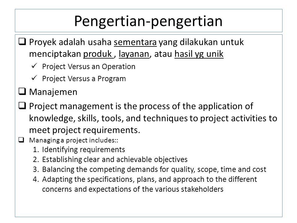 Pengertian-pengertian  Proyek adalah usaha sementara yang dilakukan untuk menciptakan produk, layanan, atau hasil yg unik Project Versus an Operation