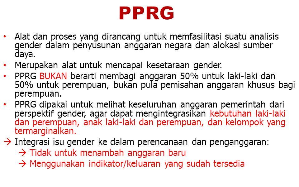 TUJUAN PPRG (1)  Agar dana pembangunan yang digunakan dapat memberikan manfaat yang adil bagi kesejahteraan perempuan dan laki-laki (termasuk anak laki-laki dan anak perempuan).