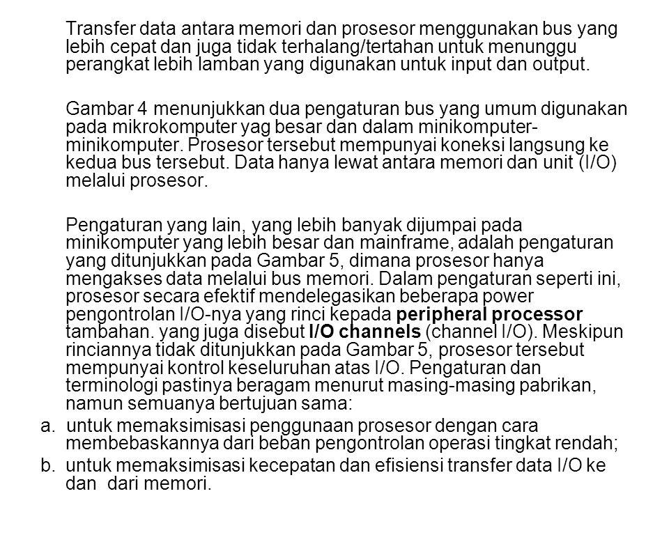 Transfer data antara memori dan prosesor menggunakan bus yang lebih cepat dan juga tidak terhalang/tertahan untuk menunggu perangkat lebih lamban yang digunakan untuk input dan output.