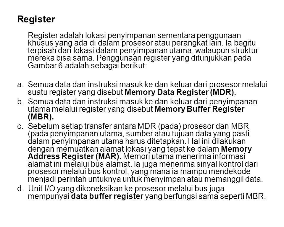 Register Register adalah lokasi penyimpanan sementara penggunaan khusus yang ada di dalam prosesor atau perangkat lain. la begitu terpisah dari lokasi