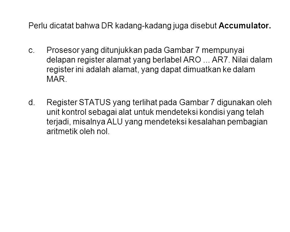 Perlu dicatat bahwa DR kadang-kadang juga disebut Accumulator.