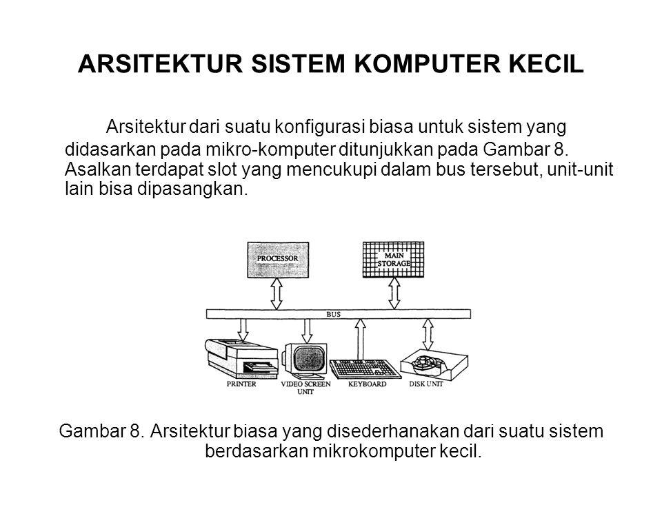 ARSITEKTUR SISTEM KOMPUTER KECIL Arsitektur dari suatu konfigurasi biasa untuk sistem yang didasarkan pada mikro-komputer ditunjukkan pada Gambar 8.