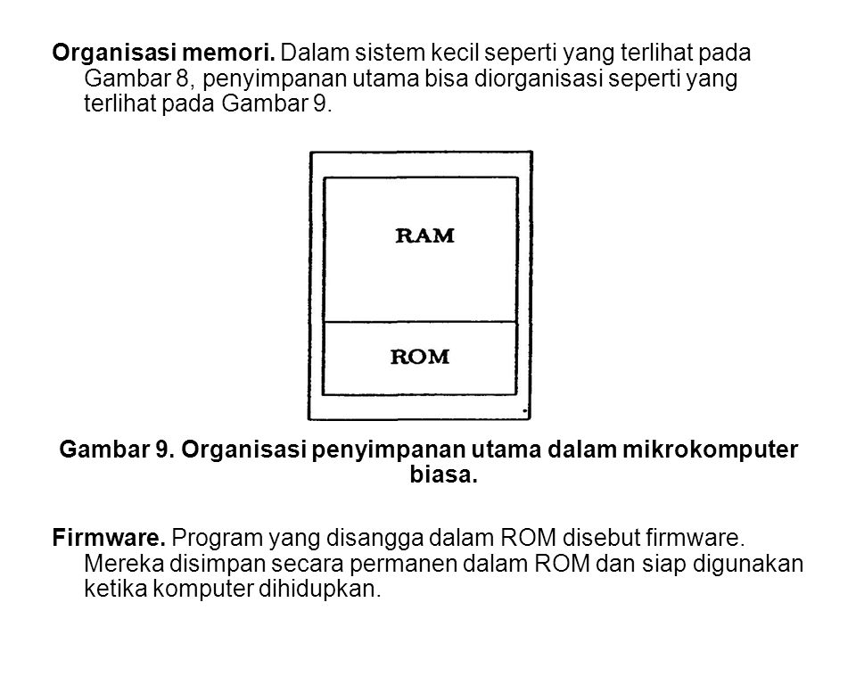 Organisasi memori. Dalam sistem kecil seperti yang terlihat pada Gambar 8, penyimpanan utama bisa diorganisasi seperti yang terlihat pada Gambar 9. Ga