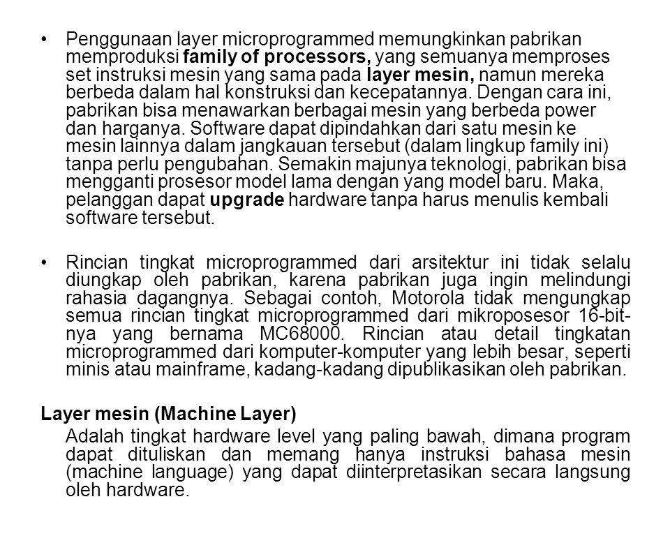 Penggunaan layer microprogrammed memungkinkan pabrikan memproduksi family of processors, yang semuanya memproses set instruksi mesin yang sama pada la