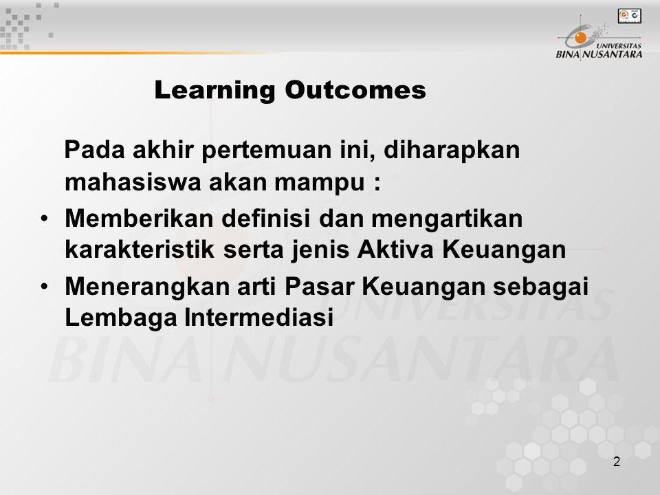 2 Learning Outcomes Pada akhir pertemuan ini, diharapkan mahasiswa akan mampu : Memberikan definisi dan mengartikan karakteristik serta jenis Aktiva K
