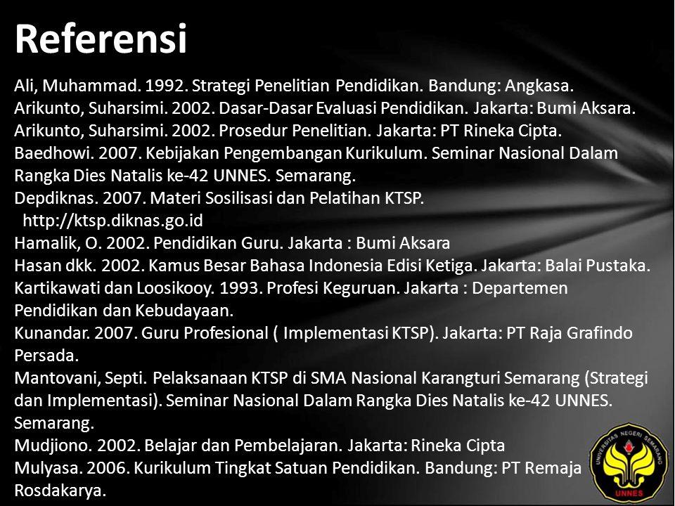 Referensi Ali, Muhammad. 1992. Strategi Penelitian Pendidikan. Bandung: Angkasa. Arikunto, Suharsimi. 2002. Dasar-Dasar Evaluasi Pendidikan. Jakarta:
