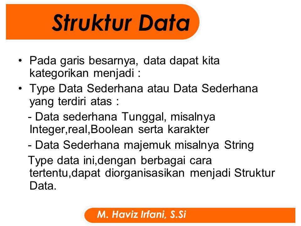 Pada garis besarnya, data dapat kita kategorikan menjadi : Type Data Sederhana atau Data Sederhana yang terdiri atas : - Data sederhana Tunggal, misalnya Integer,real,Boolean serta karakter - Data Sederhana majemuk misalnya String Type data ini,dengan berbagai cara tertentu,dapat diorganisasikan menjadi Struktur Data.