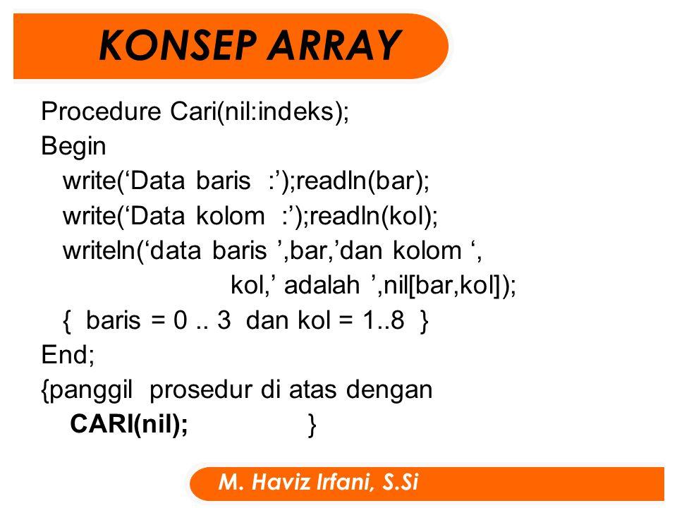 Procedure Tampil(nil:indeks); Begin write('data kolom dari indeks ke :');readln(awal); write('sampai kolom indeks ke :');readln(akhir); write('data baris dari indeks ke :');readln(awal1); write('sampai baris indeks ke :');readln(akhir1); for i:= awal1 to akhir1 do for j:= awal to akhir do writeln('nil[ ',i,',',j,']=',nil[i, j]); { j = awal..
