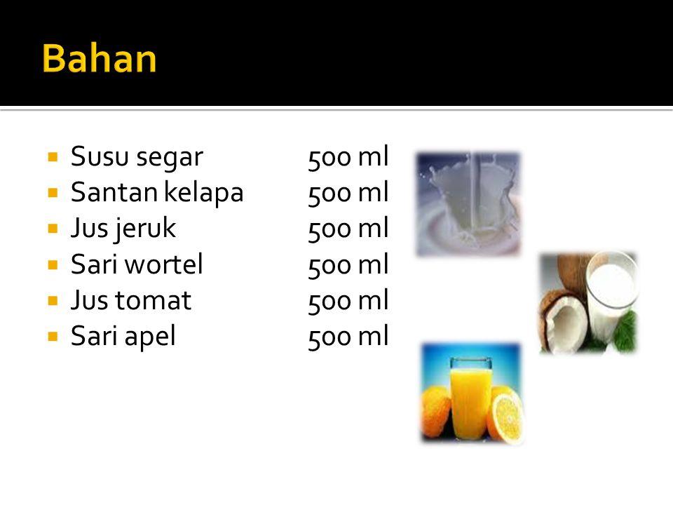  Susu segar500 ml  Santan kelapa500 ml  Jus jeruk500 ml  Sari wortel500 ml  Jus tomat 500 ml  Sari apel 500 ml