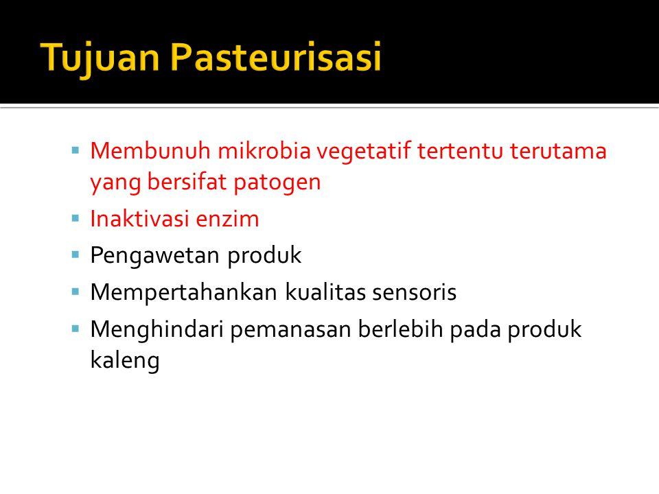  Kebutuhan panas pada proses pasteurisasi dan daya simpan produk, dipengaruhi oleh :  Jenis produk pangan  pH produk pangan ▪ Produk pangan dengan keasaman rendah (pH > 4,5), tujuan pasteurisasi adalah mendestruksi bakteri patogen ▪ Pada produk pangan dengan keasaman tinggi (pH < 4,5), tujuan pasteurisasi adalah destruksi mikrobia pembusuk dan enzim
