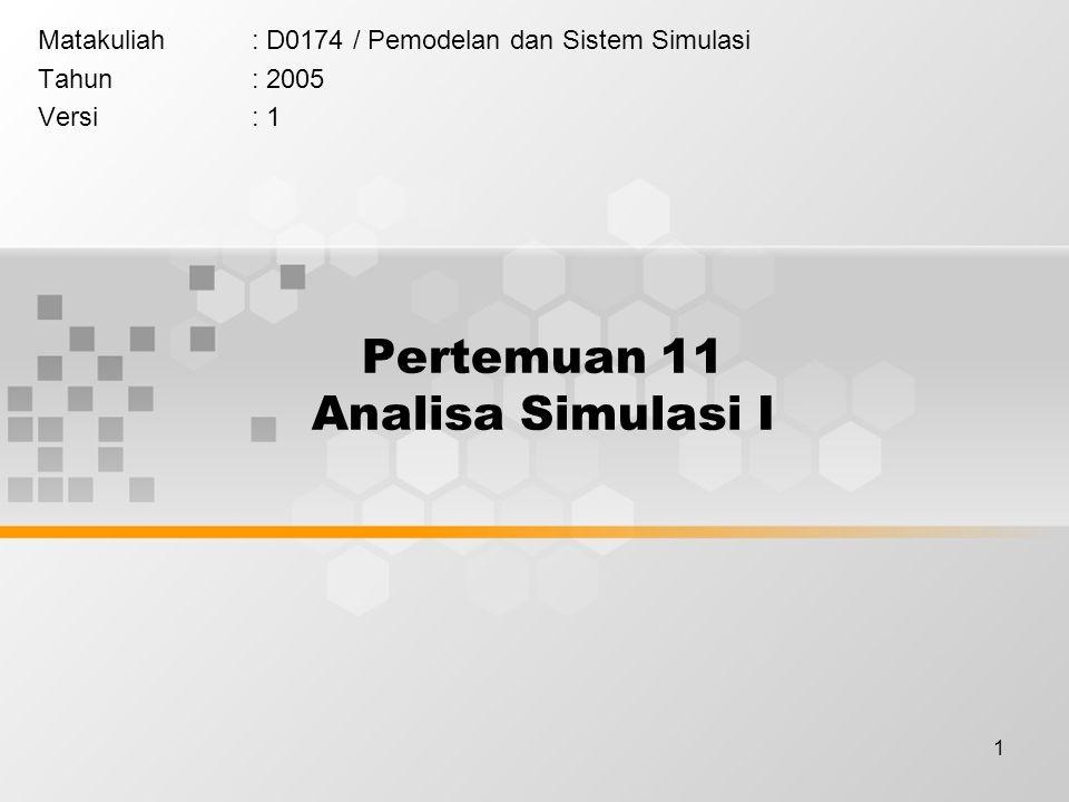 1 Pertemuan 11 Analisa Simulasi I Matakuliah: D0174 / Pemodelan dan Sistem Simulasi Tahun: 2005 Versi: 1