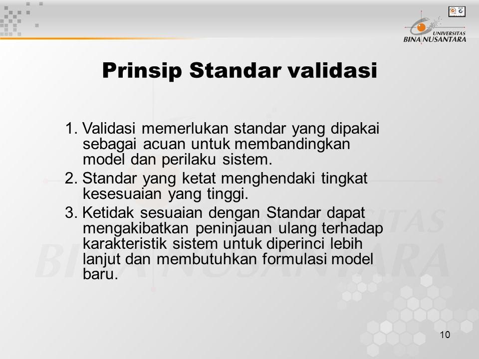 10 Prinsip Standar validasi 1. Validasi memerlukan standar yang dipakai sebagai acuan untuk membandingkan model dan perilaku sistem. 2. Standar yang k