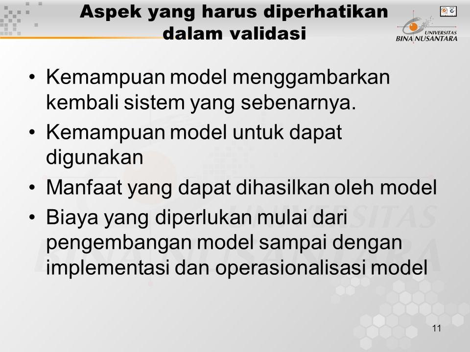 11 Aspek yang harus diperhatikan dalam validasi Kemampuan model menggambarkan kembali sistem yang sebenarnya. Kemampuan model untuk dapat digunakan Ma