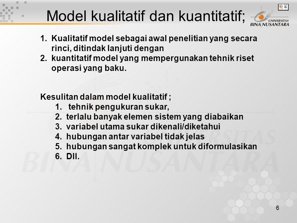 7 Simpulan masalah Model Simulasi Model informatif; –Fungsi diskripsi suatu model adalah ditemukannya informasi sesuai dengan dunia nyatanya (misal map.