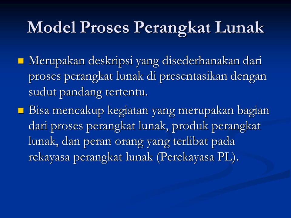 Model Proses Perangkat Lunak Merupakan deskripsi yang disederhanakan dari proses perangkat lunak di presentasikan dengan sudut pandang tertentu. Merup