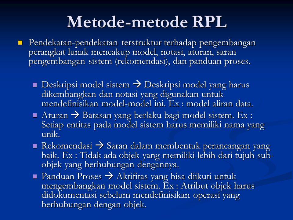 Metode-metode RPL Pendekatan-pendekatan terstruktur terhadap pengembangan perangkat lunak mencakup model, notasi, aturan, saran pengembangan sistem (rekomendasi), dan panduan proses.