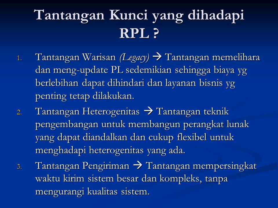 Tantangan Kunci yang dihadapi RPL ? 1. Tantangan Warisan (Legacy)  Tantangan memelihara dan meng-update PL sedemikian sehingga biaya yg berlebihan da