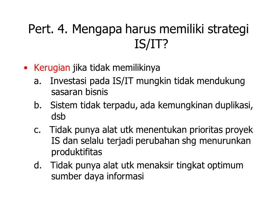 Pert. 4. Mengapa harus memiliki strategi IS/IT? Kerugian jika tidak memilikinya a. Investasi pada IS/IT mungkin tidak mendukung sasaran bisnis b. Sist