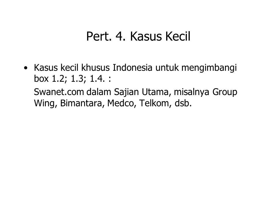 Pert. 4. Kasus Kecil Kasus kecil khusus Indonesia untuk mengimbangi box 1.2; 1.3; 1.4. : Swanet.com dalam Sajian Utama, misalnya Group Wing, Bimantara