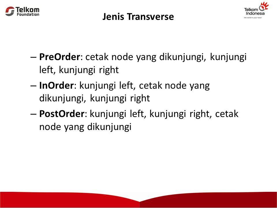 Jenis Transverse – PreOrder: cetak node yang dikunjungi, kunjungi left, kunjungi right – InOrder: kunjungi left, cetak node yang dikunjungi, kunjungi