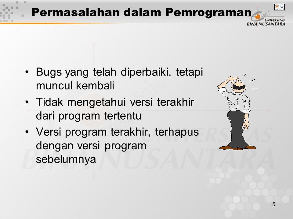 6 Penulisan dokumen program tidak sinkron dengan program yang sedang dibuat Tidak mengetahui apakah perubahan yang telah diusulkan, telah di-implementasikan pada program Permasalahan dalam Pemrograman