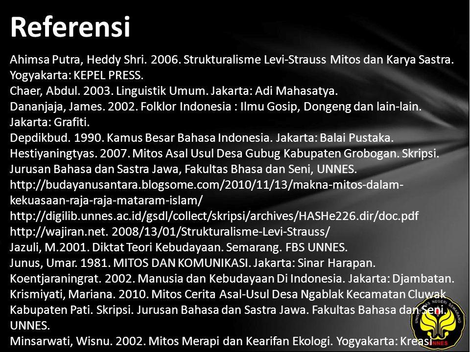 Referensi Ahimsa Putra, Heddy Shri. 2006. Strukturalisme Levi-Strauss Mitos dan Karya Sastra.