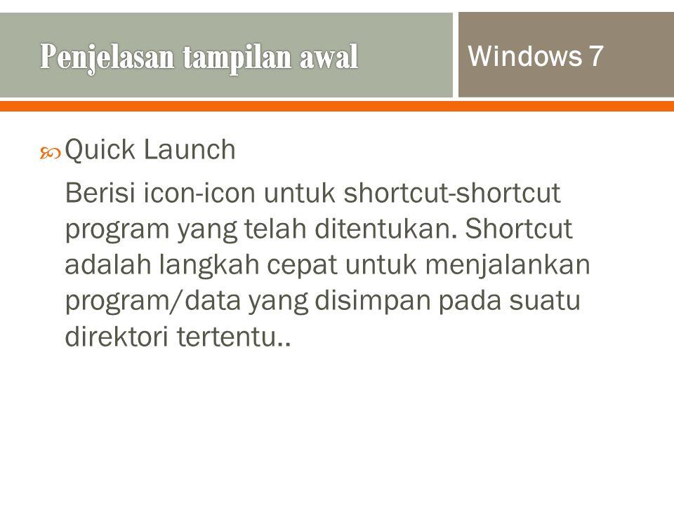  Quick Launch Berisi icon-icon untuk shortcut-shortcut program yang telah ditentukan.