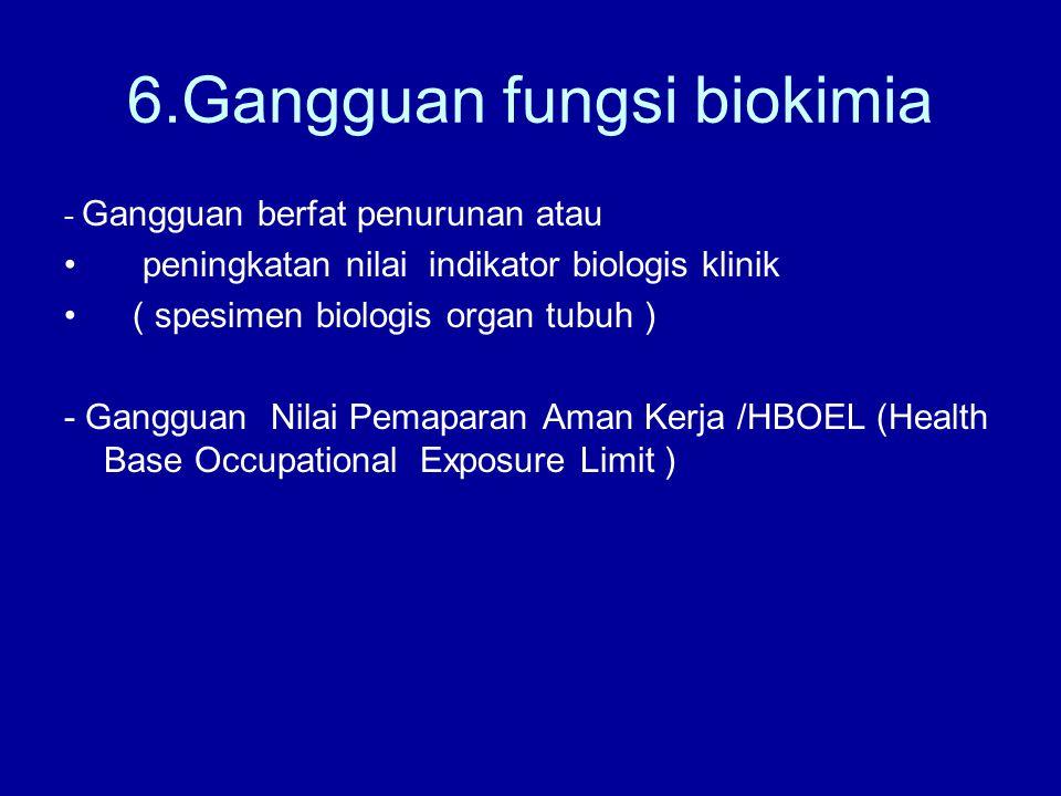 6.Gangguan fungsi biokimia - Gangguan berfat penurunan atau peningkatan nilai indikator biologis klinik ( spesimen biologis organ tubuh ) - Gangguan Nilai Pemaparan Aman Kerja /HBOEL (Health Base Occupational Exposure Limit )