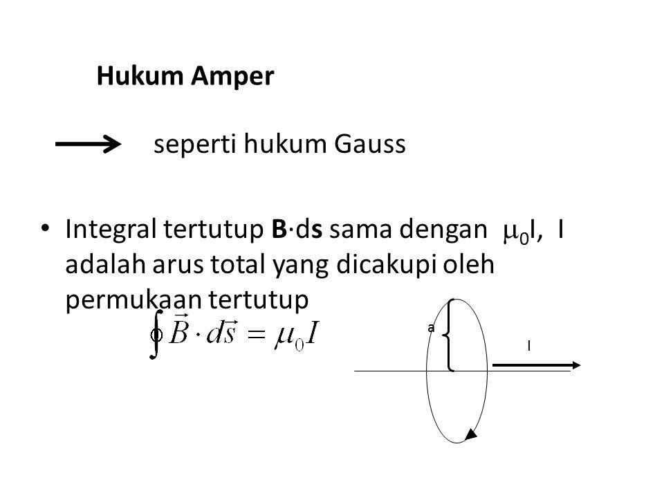 Hukum Amper seperti hukum Gauss Integral tertutup B·ds sama dengan  0 I, I adalah arus total yang dicakupi oleh permukaan tertutup I a
