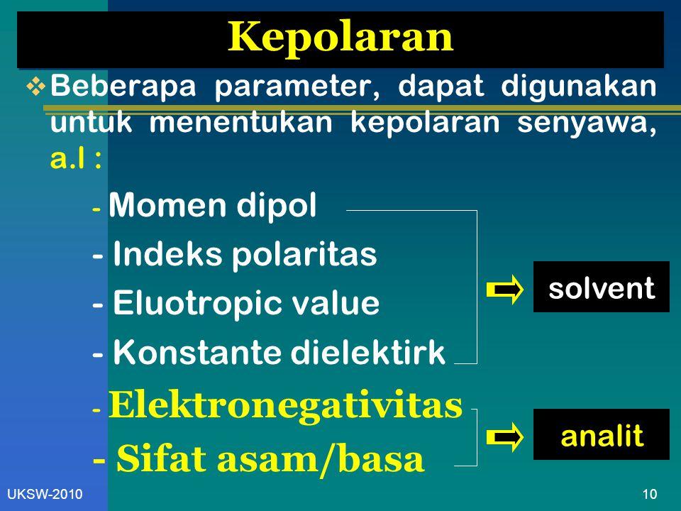 10UKSW-2010 Kepolaran  Beberapa parameter, dapat digunakan untuk menentukan kepolaran senyawa, a.l : - Momen dipol - Indeks polaritas - Eluotropic value - Konstante dielektirk - Elektronegativitas - Sifat asam/basa solvent analit