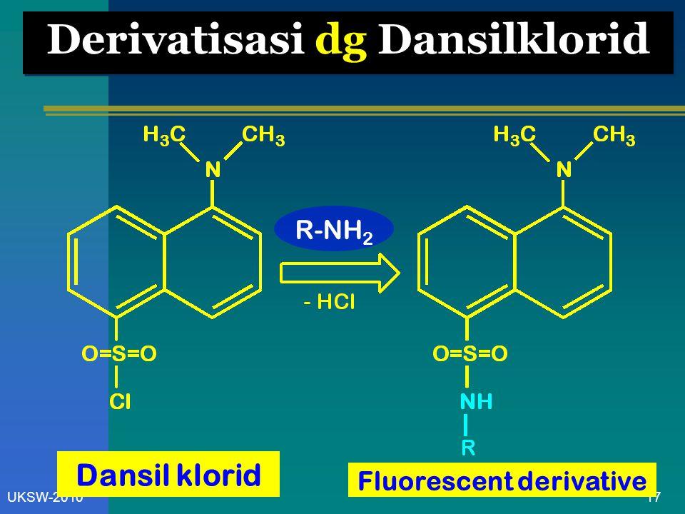 17UKSW-2010 Derivatisasi dg Dansilklorid Fluorescent derivative Dansil klorid R-NH 2