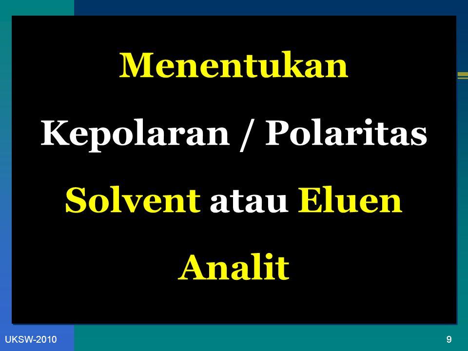 9UKSW-2010 Menentukan Kepolaran / Polaritas Solvent atau Eluen Analit