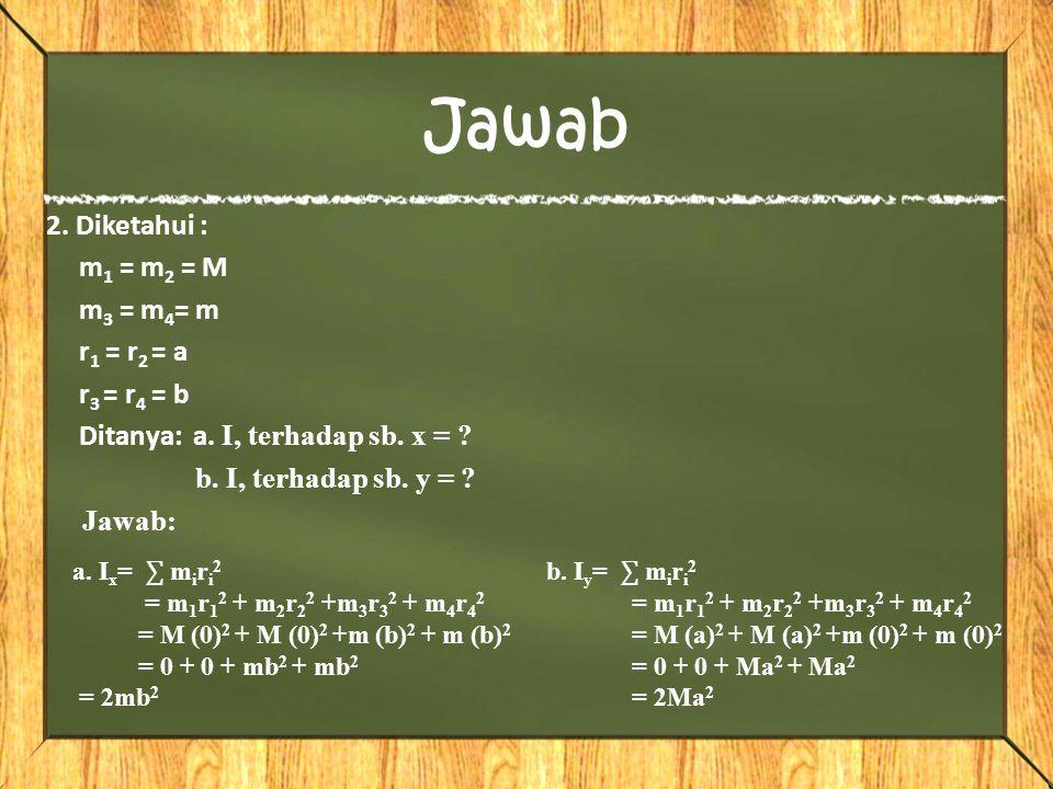 2. aa b b Poros a.Hitung momen inersia terhadap sumbu X b.Hitung momen inersia terhadap sumbu Y Source : Fisika SMA kelas XI smt 2 Erlangga, hal. 8 Ay
