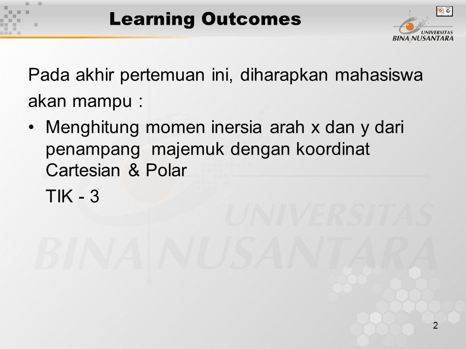 2 Learning Outcomes Pada akhir pertemuan ini, diharapkan mahasiswa akan mampu : Menghitung momen inersia arah x dan y dari penampang majemuk dengan ko