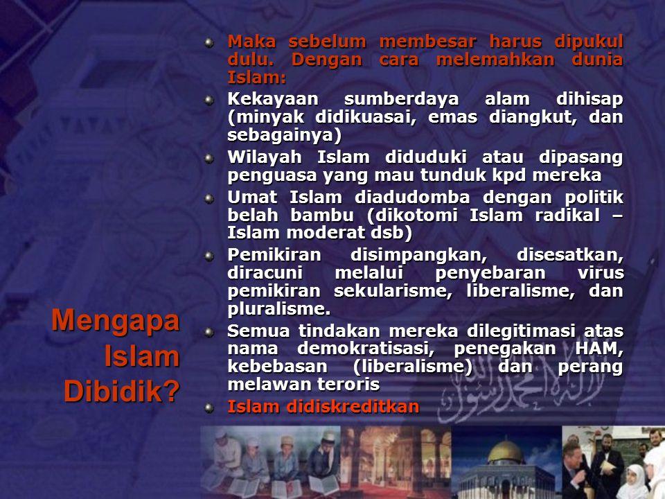 Mengapa Islam Dibidik? Maka sebelum membesar harus dipukul dulu. Dengan cara melemahkan dunia Islam: Kekayaan sumberdaya alam dihisap (minyak didikuas