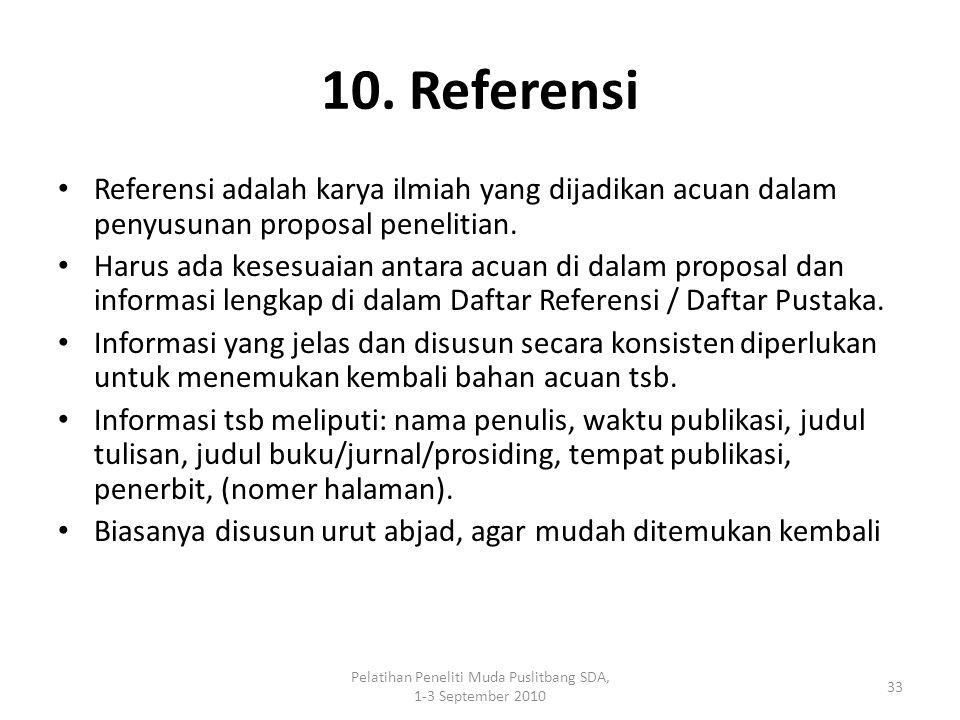 Pelatihan Peneliti Muda Puslitbang SDA, 1-3 September 2010 33 10. Referensi Referensi adalah karya ilmiah yang dijadikan acuan dalam penyusunan propos