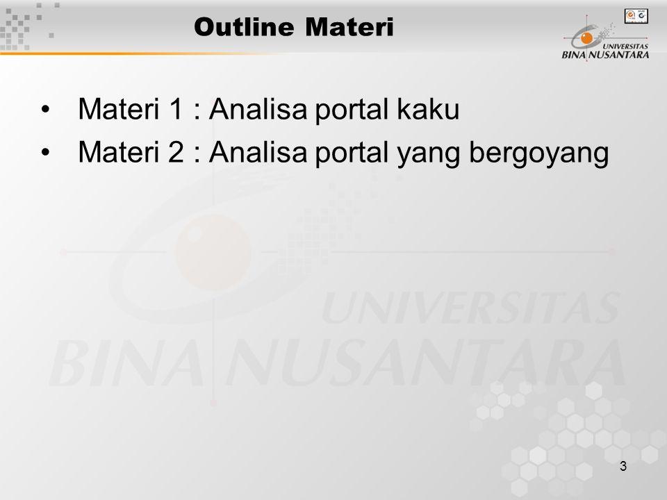 4 Analisa Portal Contoh: Portal statis tidak tentu ditumpu di A, B, dan C seperti gambar.