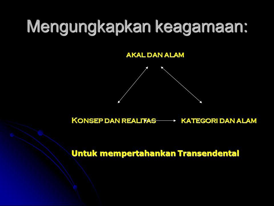 Mengungkapkan keagamaan: akal dan alam Konsep dan realitaskategori dan alam Untuk mempertahankan Transendental