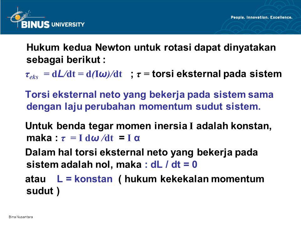 Bina Nusantara Hukum kedua Newton untuk rotasi dapat dinyatakan sebagai berikut : τ eks = d L /dt = d(I ω )/dt ; τ = torsi eksternal pada sistem Torsi