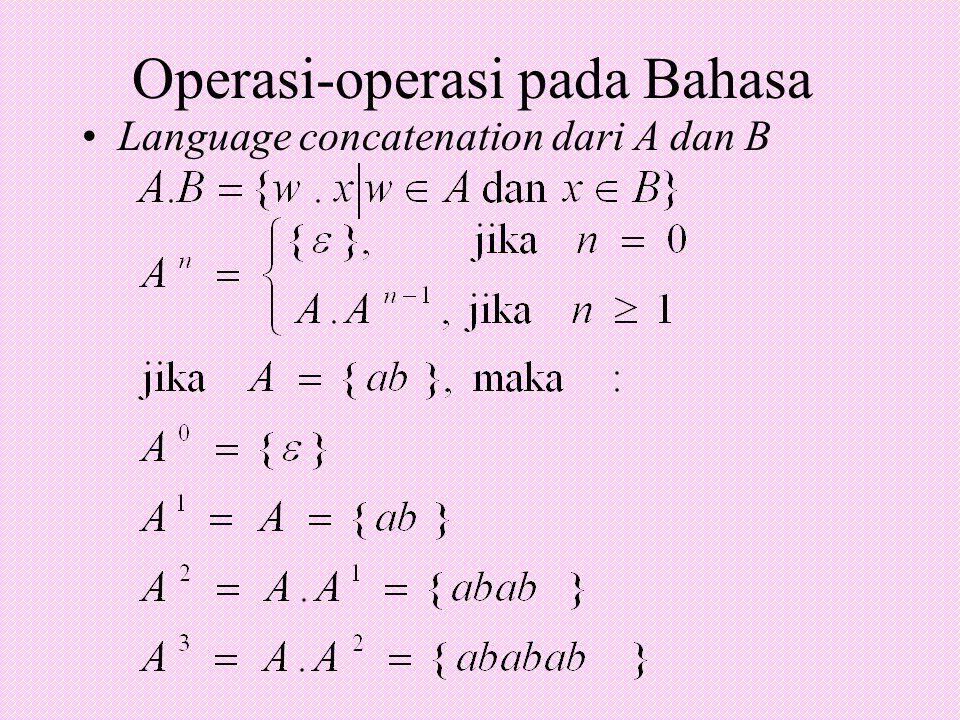 Operasi-operasi pada Bahasa Language concatenation dari A dan B