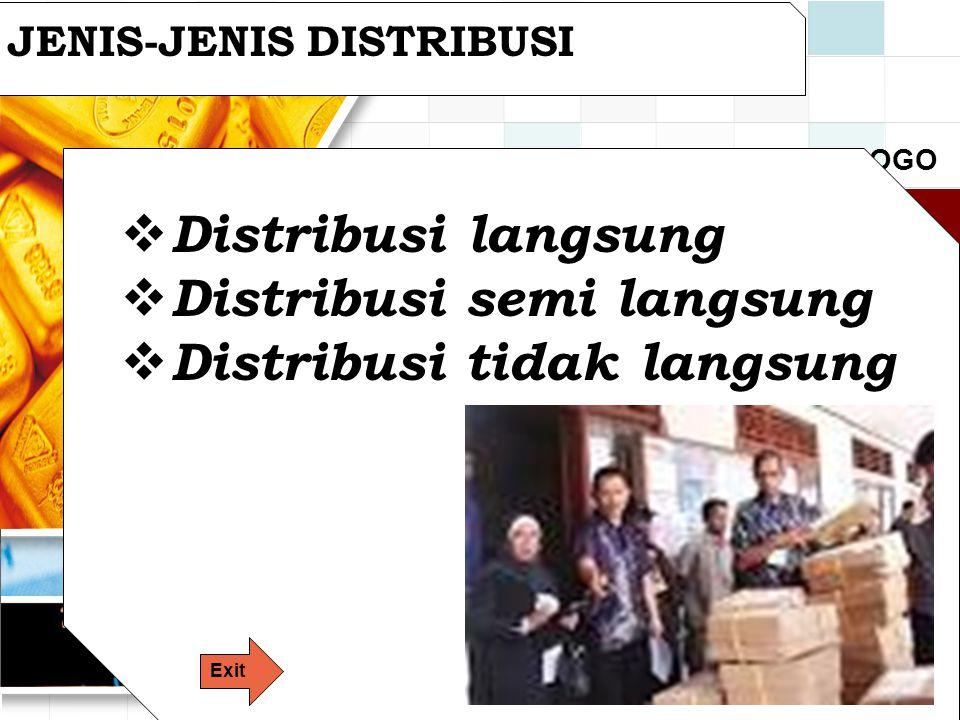 LOGO JENIS-JENIS DISTRIBUSI  Distribusi langsung  Distribusi semi langsung  Distribusi tidak langsung Exit
