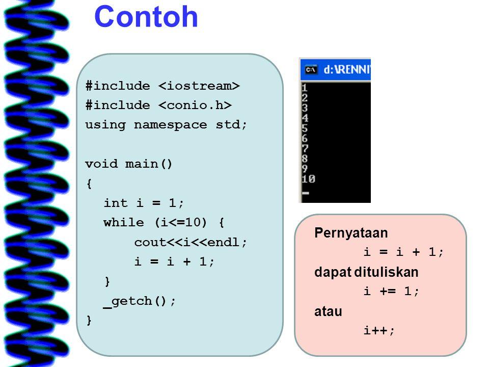 Contoh #include using namespace std; void main() { int i = 1; while (i<=10) { cout<<i<<endl; i = i + 1; } _getch(); } Pernyataan i = i + 1; dapat dituliskan i += 1; atau i++;