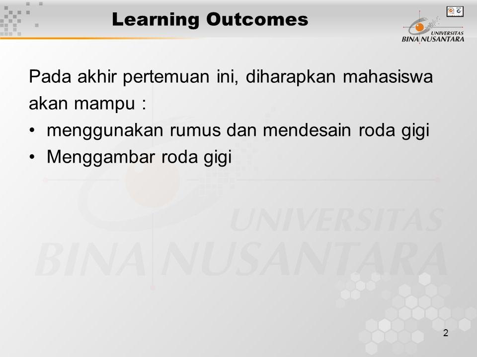 2 Learning Outcomes Pada akhir pertemuan ini, diharapkan mahasiswa akan mampu : menggunakan rumus dan mendesain roda gigi Menggambar roda gigi