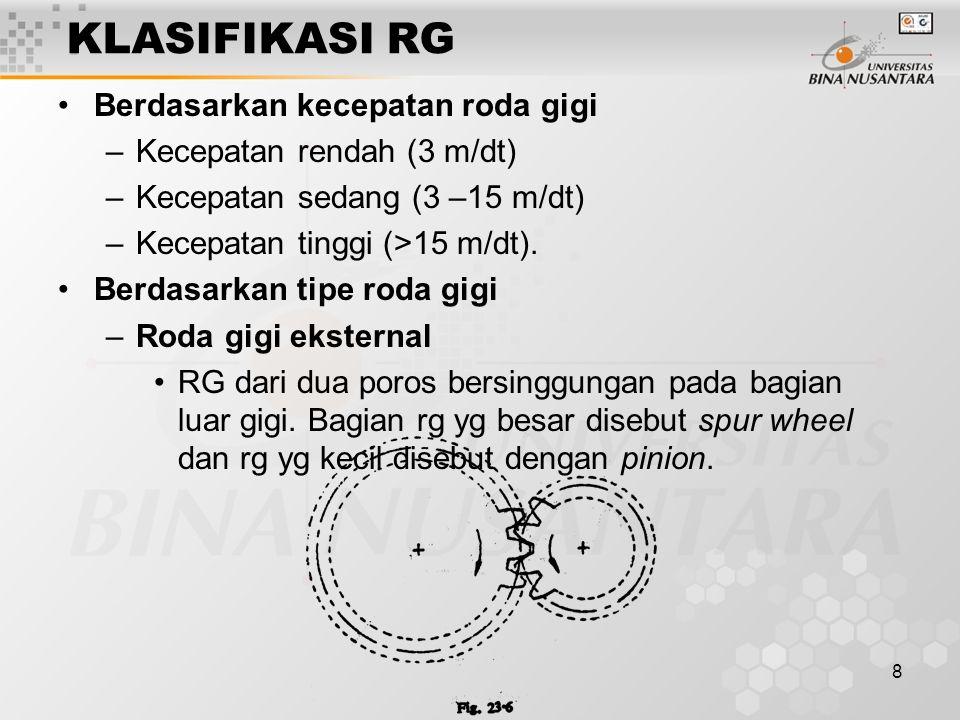 8 KLASIFIKASI RG Berdasarkan kecepatan roda gigi –Kecepatan rendah (3 m/dt) –Kecepatan sedang (3 –15 m/dt) –Kecepatan tinggi (>15 m/dt). Berdasarkan t