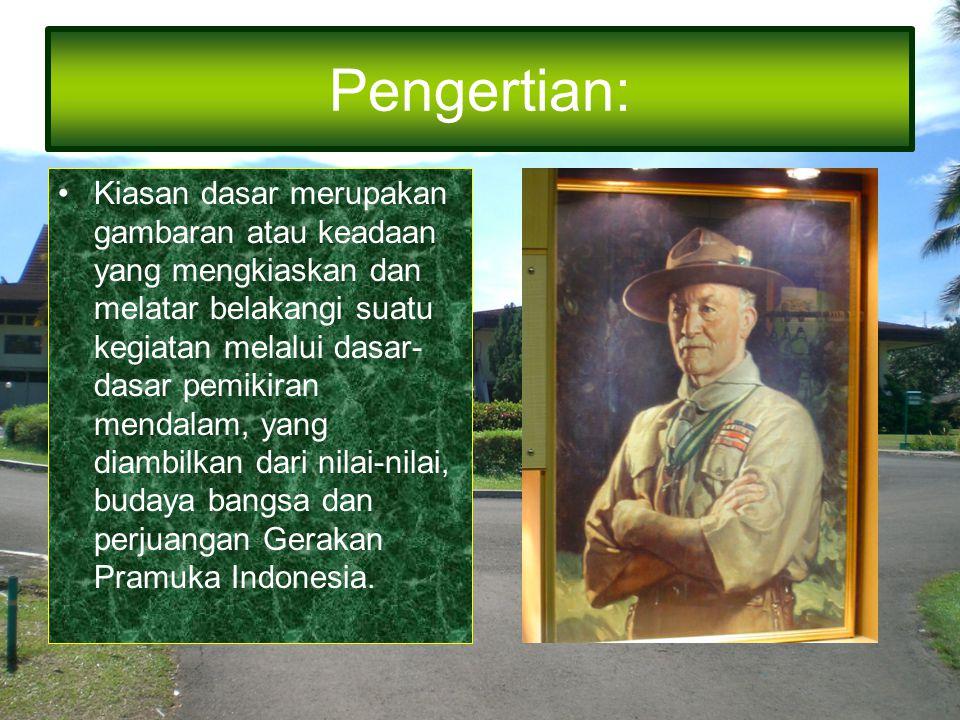 Pengertian: Kiasan dasar merupakan gambaran atau keadaan yang mengkiaskan dan melatar belakangi suatu kegiatan melalui dasar- dasar pemikiran mendalam, yang diambilkan dari nilai-nilai, budaya bangsa dan perjuangan Gerakan Pramuka Indonesia.