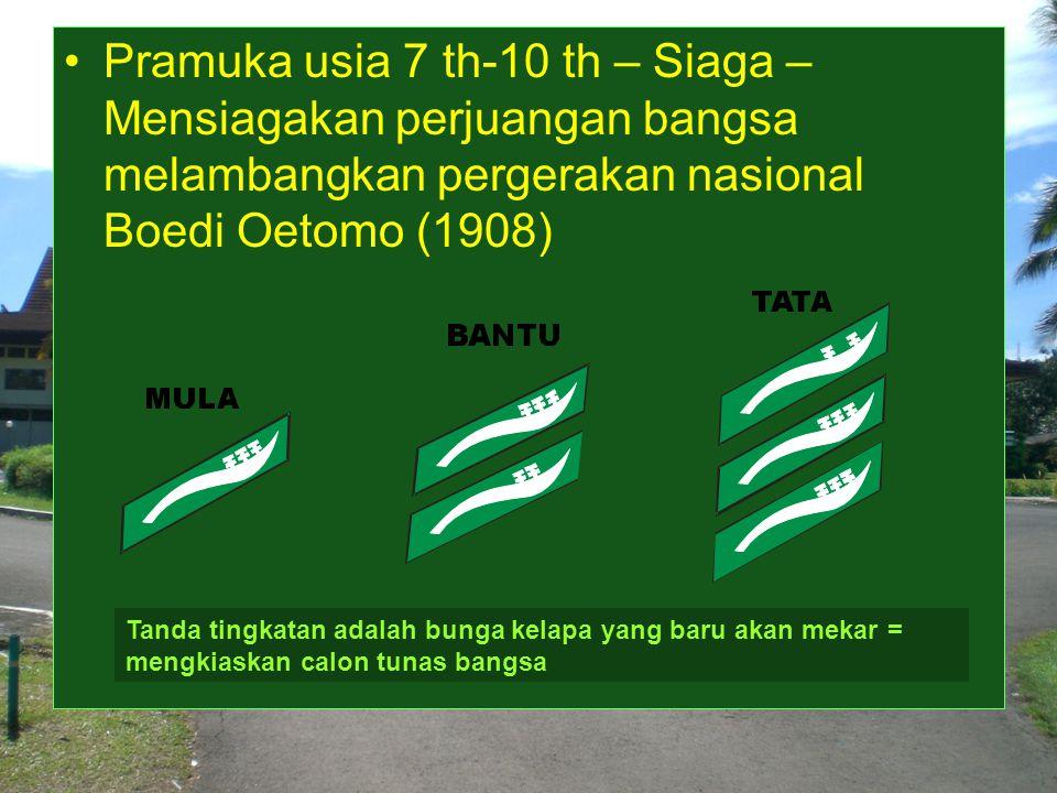 Pramuka usia 7 th-10 th – Siaga – Mensiagakan perjuangan bangsa melambangkan pergerakan nasional Boedi Oetomo (1908) Tanda tingkatan adalah bunga kelapa yang baru akan mekar = mengkiaskan calon tunas bangsa
