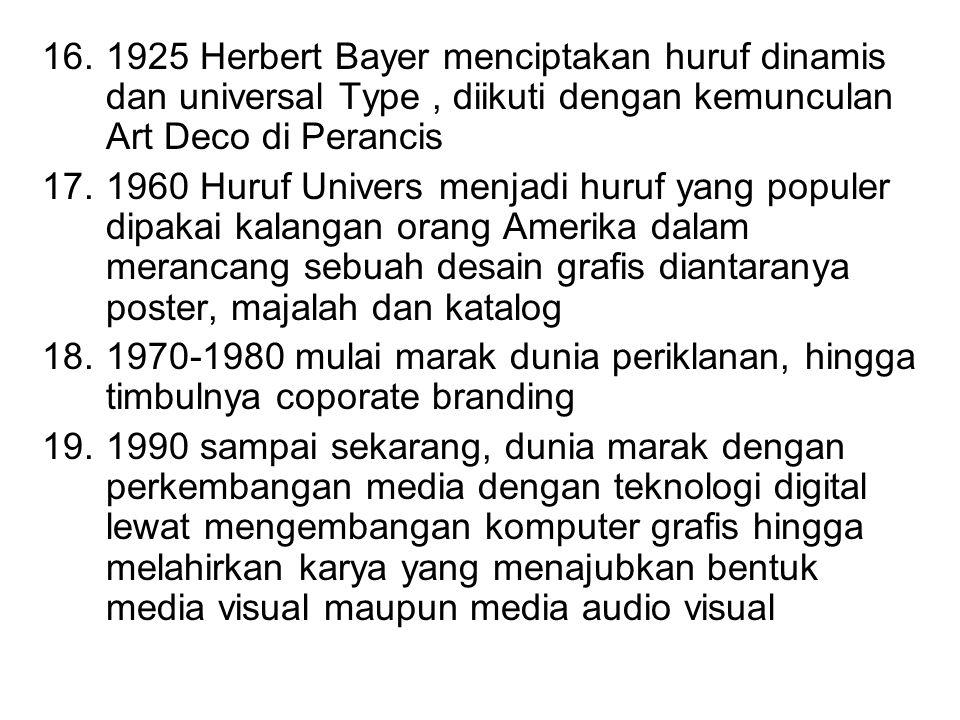 16.1925 Herbert Bayer menciptakan huruf dinamis dan universal Type, diikuti dengan kemunculan Art Deco di Perancis 17.1960 Huruf Univers menjadi huruf