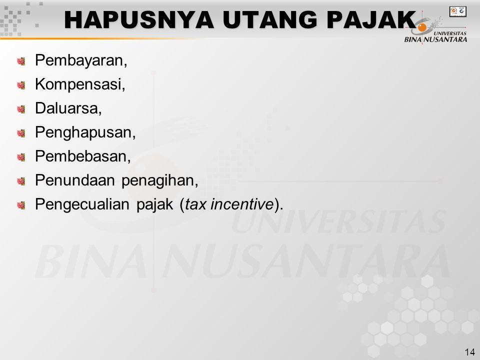 14 HAPUSNYA UTANG PAJAK Pembayaran, Kompensasi, Daluarsa, Penghapusan, Pembebasan, Penundaan penagihan, Pengecualian pajak (tax incentive).