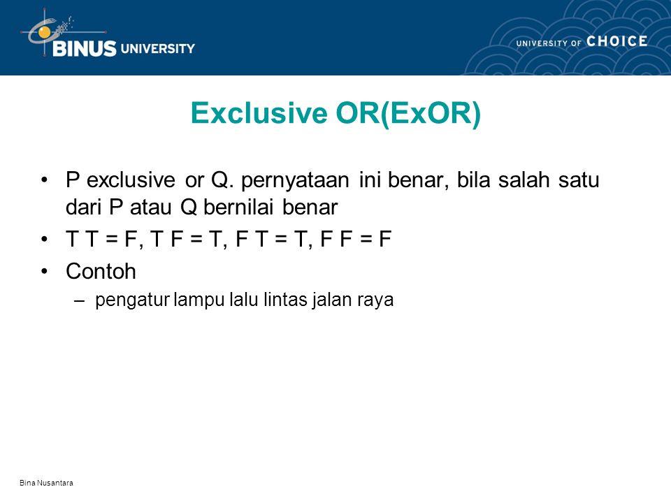 Bina Nusantara Ekuivalensi ( ) Pernyataan P Q disebut P jika hanya jika Q pernyataan ekuivalensi benar, bila kedua pernyataan bagian sama-sama bernila